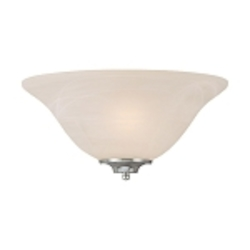 "Cordova Collection 1-Light 13"" Satin Nickel Half Wall Sconce with Faux Alabaster Glass Shade 20001-SN"