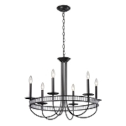 "Braxton Collection 6-Light 29"" Aged Bronze Chandelier with Ribbed Glass Cylinders 10241/6"