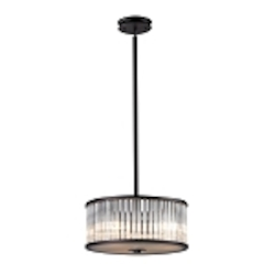 "Braxton Collection 3-Light 16"" Aged Bronze Drum Pendant with Ribbed Glass Cylinders 10328/3"