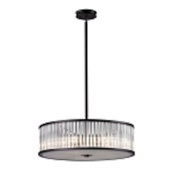 "Braxton Collection 5-Light 24"" Aged Bronze Drum Pendant with Ribbed Glass Cylinders 10329/5"