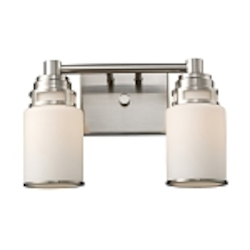 "Bryant Collection 2-Light 14"" Satin Nickel LED Bathbar with Opal Glass 11265/2-LED"