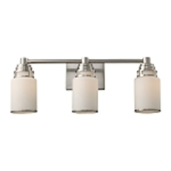 "Bryant Collection 3-Light 23"" Satin Nickel Bathbar with Opal Glass 11266/3"