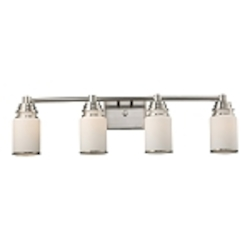 "Bryant Collection 4-Light 32"" Satin Nickel Bathbar with Opal Glass 11267/4"