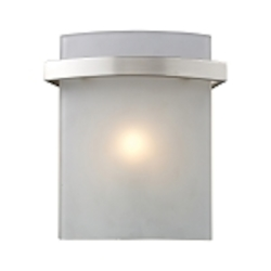 "Briston Collection 1-Light 7"" Satin Nickel Wall Sconce with Frosted White Glass 11280/1"