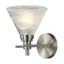 "Pemberton Collection 1-Light 7"" Satin Nickel Wall Sconce with White Marbleized Glass 11400/1"