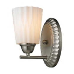 "Waverly Collection 1-Light 5"" Brushed Nickel Wall Sconce with Opal Wavy Glass 11405/1"