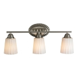"Waverly Collection 3-Light 23"" Brushed Nickel Bathbar with Opal Wavy Glass 11407/3"