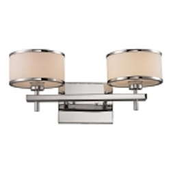 "Utica Collection 2-Light 18"" Polished Chrome Bathroom Vanity Fixture with Opal Glass 11416/2"