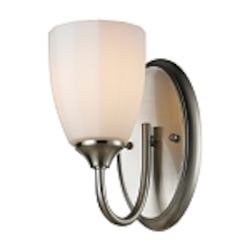 "Ridgeway Collection 1-Light 5"" Brushed Nickel Wall Sconce with Opal Glass 11420/1"