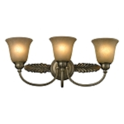 "Ventura Collection 3-Light 24"" Antique Brass Bathroom Vanity Fixture with Etched Amber Glass 11425/3"