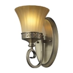 "Claremont Collection 1-Light 6"" Colonial Bronze Wall Sconce with Etched Amber Glass 11426/1"