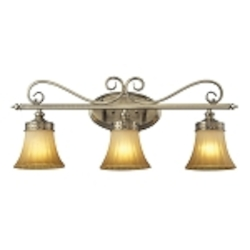"Claremont Collection 3-Light 26"" Colonial Bronze Bathbar with Etched Amber Glass 11428/3"