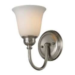 "Ventura Collection 1-Light 6"" Brushed Nickel Wall Sconce with Opal Glass 11433/1"