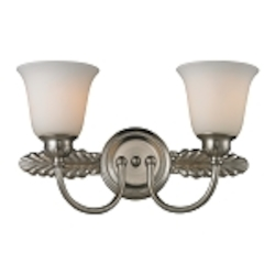"Ventura Collection 2-Light 18"" Brushed Nickel Bathroom Vanity Fixture with Opal Glass 11434/2"