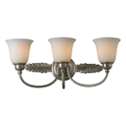 "Ventura Collection 3-Light 24"" Brushed Nickel LED Bathroom Vanity Fixture with Opal Glass 11435/3-LED"