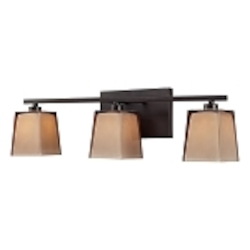 "Serenity Collection 3-Light 23"" Oiled Bronze Bathroom Vanity Fixture with Double Caramel Glass 11438/3"
