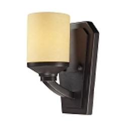 "Cordova Collection 1-Light 6"" Oiled Bronze Wall Sconce with Light Amber Scavo Glass 14091/1"