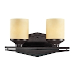 "Cordova Collection 2-Light 14"" Oiled Bronze Bathroom Vanity Fixture with Light Amber Scavo Glass 14092/2"
