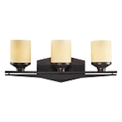 "Cordova Collection 3-Light 22"" Oiled Bronze Bathroom LED Vanity Fixture with Light Amber Scavo Glass 14093/3-LED"