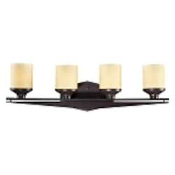 "Cordova Collection 4-Light 29"" Oiled Bronze Bathroom Vanity Fixture with Light Amber Scavo Glass 14094/4"