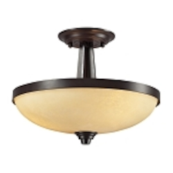 "Cordova Collection 3-Light 16"" Oiled Bronze Semi-Flush Mount with Light Amber Scavo Glass 14095/3"