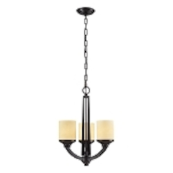 "Cordova Collection 3-Light 19"" Oiled Bronze Mini Chandelier with Light Amber Scavo Glass 14096/3"