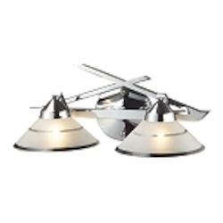 "Refraction Collection 2-Light 16"" Polished Chrome Bathroom Vanity Fixture with Etched Clear Glass 1471/2"