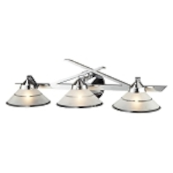 "Refraction Collection 3-Light 25"" Polished Chrome Bathroom Vanity Fixture with Etched Clear Glass 1472/3"