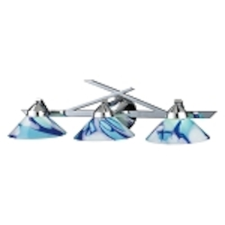 "Refraction Collection 3-Light 25"" Polished Chrome Bathroom Vanity Fixture with Caribbean Glass 1472/3CAR"