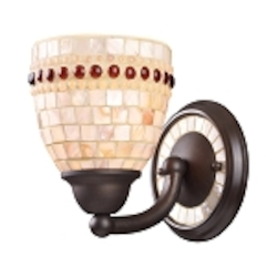 "Roxana Collection 1-Light 8"" Aged Bronze Wall Sconce with Capiz Shell Mosaic Glass 15010/1"