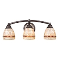 "Roxana Collection 3-Light 23"" Aged Bronze LED Bathroom Vanity Fixture with Capiz Shell Mosaic Glass 15012/3-LED"