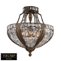 "Trump Home Millwood Collection 6-Light 21"" Antique Bronze Crystal Semi-Flush Mount 2494/6"