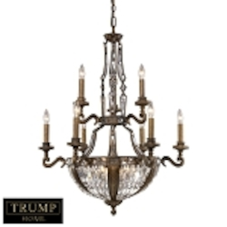 "Trump Home Millwood Collection 15-Light 39"" Antique Bronze Crystal Chandelier 2497/6+3+6"