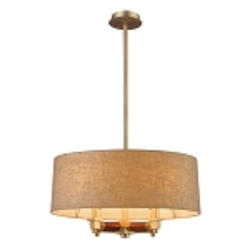 "Jorgenson Collection 4-Light 22"" Tan Linen Drum Shaded Mahogany Wood Chandelier 31325/4"