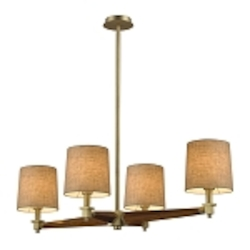 "Jorgenson Collection 4-Light 40"" LED Mahogany Wood Chandelier with Satin Brass Accents 31326/4-LED"