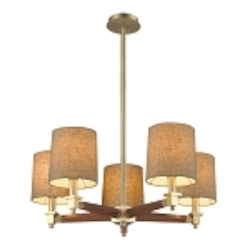 "Jorgenson Collection 5-Light 28"" Mahogany Wood Chandelier with Satin Brass Accents 31327/5"