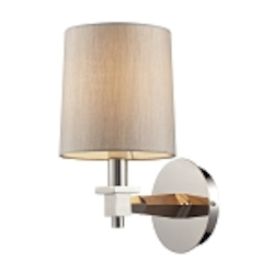 "Jorgenson Collection 1-Light 11"" Polished Nickel Wall Sconce with Wood Accents 31330/1"