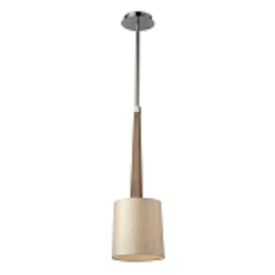 "Jorgenson Collection 1-Light 23"" Wood Mini Pendant with Polished Nickel Accents 31333/1"
