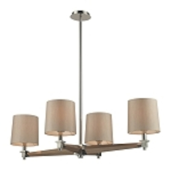 "Jorgenson Collection 4-Light 40"" Wood Chandelier with Polished Nickel Accents 31336/4"