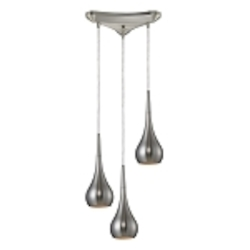 Lindsey Collection 3-Light Satin Nickel Hanging Pendant System 31340/3SN