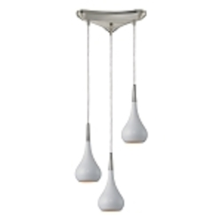 Lindsey Collection 3-Light White Glass Hanging Pendant System 31340/3WH
