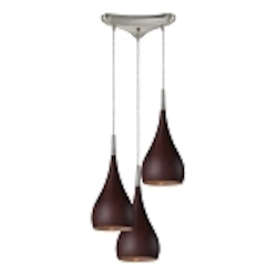 Lindsey Collection 3-Light Dark Walnut Wood Hanging Pendant System 31341/3DW