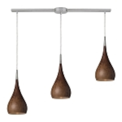 "Lindsey Collection 3-Light 36"" Burl Wood Linear Pendant 31341/3L-BW"