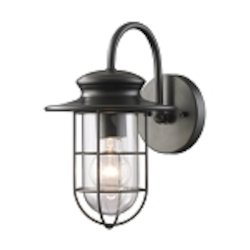 "Portside Collection 1-Light 12"" Matte Black Outdoor Wall Sconce with Clear Blown Glass 42284/1"