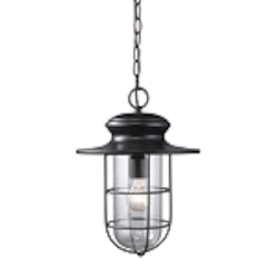 "Portside Collection 1-Light 16"" Matte Black Outdoor Hanging Pendant with Clear Blown Glass 42286/1"