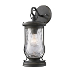 "Farmstead Collection 1-Light 14"" Matte Black Outdoor Wall Lantern with Water Glass 43016/1"