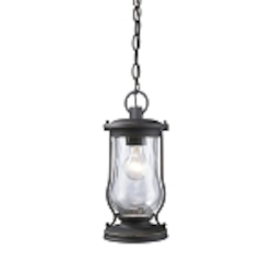 "Farmstead Collection 1-Light 14"" Matte Black Outdoor Hanging Lantern with Water Glass 43017/1"