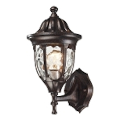 "Glendale Collection 1-Light 13"" Regal Bronze Outdoor Wall Lantern with Water Glass 45000/1"