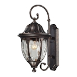 "Glendale Collection 1-Light 18"" Regal Bronze Outdoor Wall Lantern with Water Glass 45003/1"