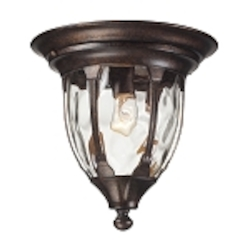 "Glendale Collection 1-Light 11"" Regal Bronze Outdoor Flush Mount with Water Glass 45004/1"